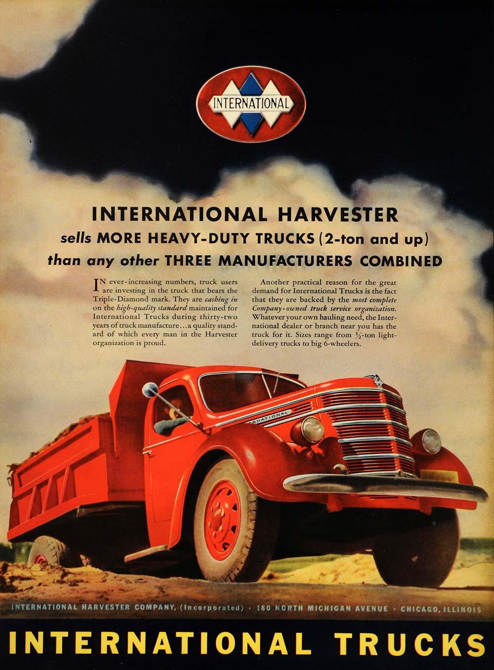 1939 Ad International Truck Harvester Heavy Diamond Art - ORIGINAL LF3