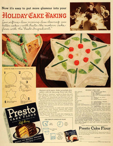 1940 Ad Presto Flour Holiday Star Cake Recipe Baking - ORIGINAL ADVERTISING LF3