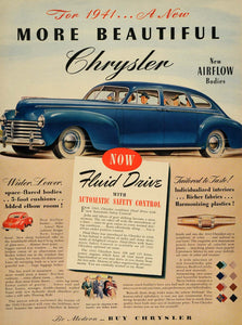 1940 Ad 1941 Chrysler Airflow Bodies Fluid Drive Cars - ORIGINAL ADVERTISING LF3