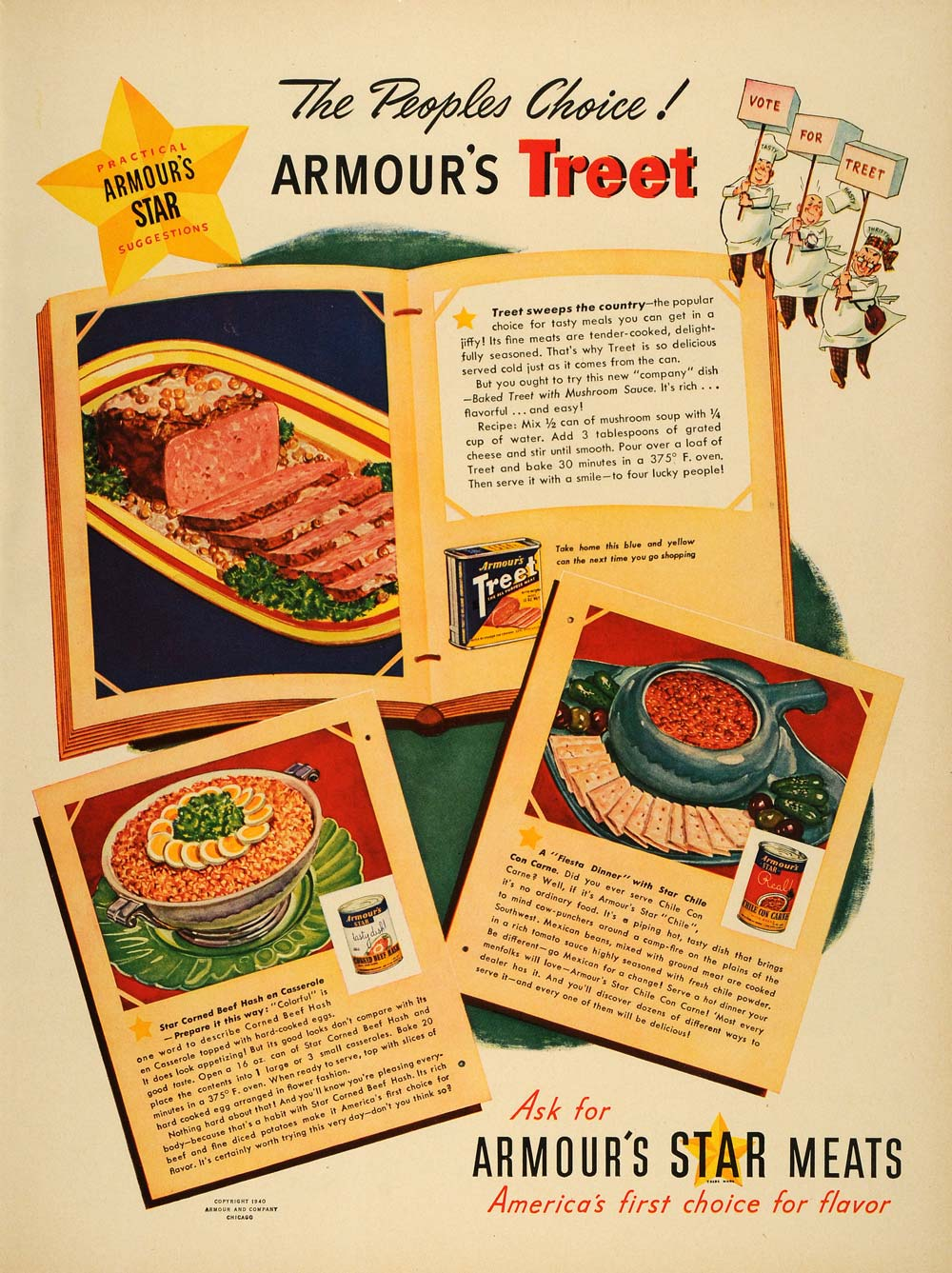 1940 Ad Armour Treet Star Meats Recipes Casserole Chili - ORIGINAL LF3