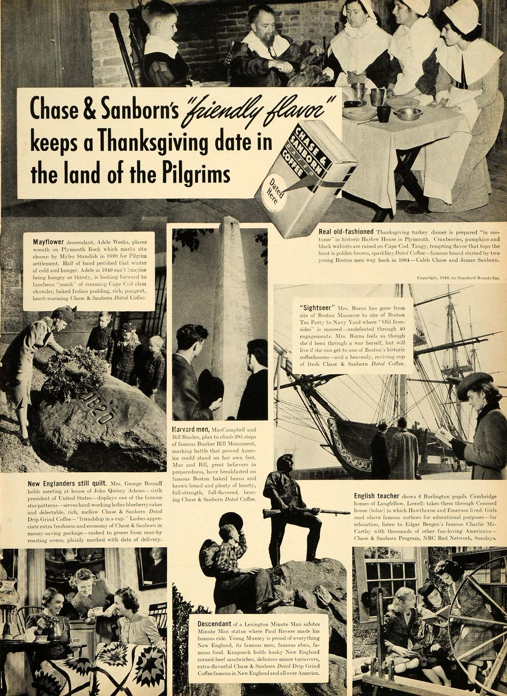 1940 Ad Historic Places Chase & Sanborn Dated Coffee - ORIGINAL ADVERTISING LF3