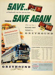 1950 Ad Greyhound Bus Ticket Round Trip Fares Price America Tours One Way LF3