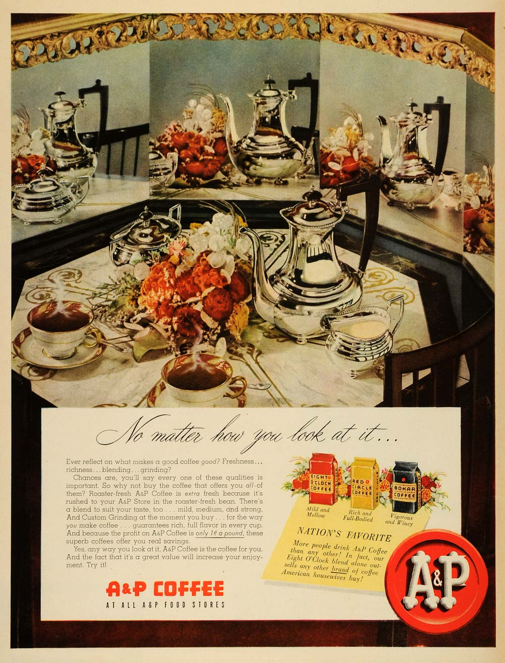 1950 Ad A & P Coffee Mild Mellow Rich Full-Bodied Vigorous Winey Beverage LF3