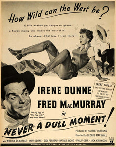 1950 Movie Ad Irene Dunne Fred MacMurray Never a Dull Moment Harriet Parsons LF3