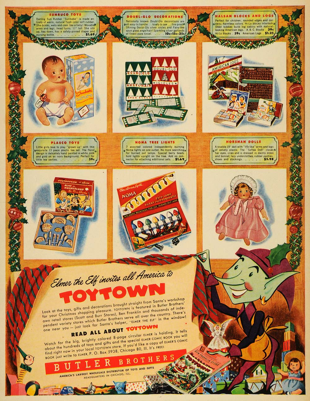 1949 Ad Elmer Elf Toytown Butler Brothers Plasco Sunruco Toys Doubl-Glo LF3