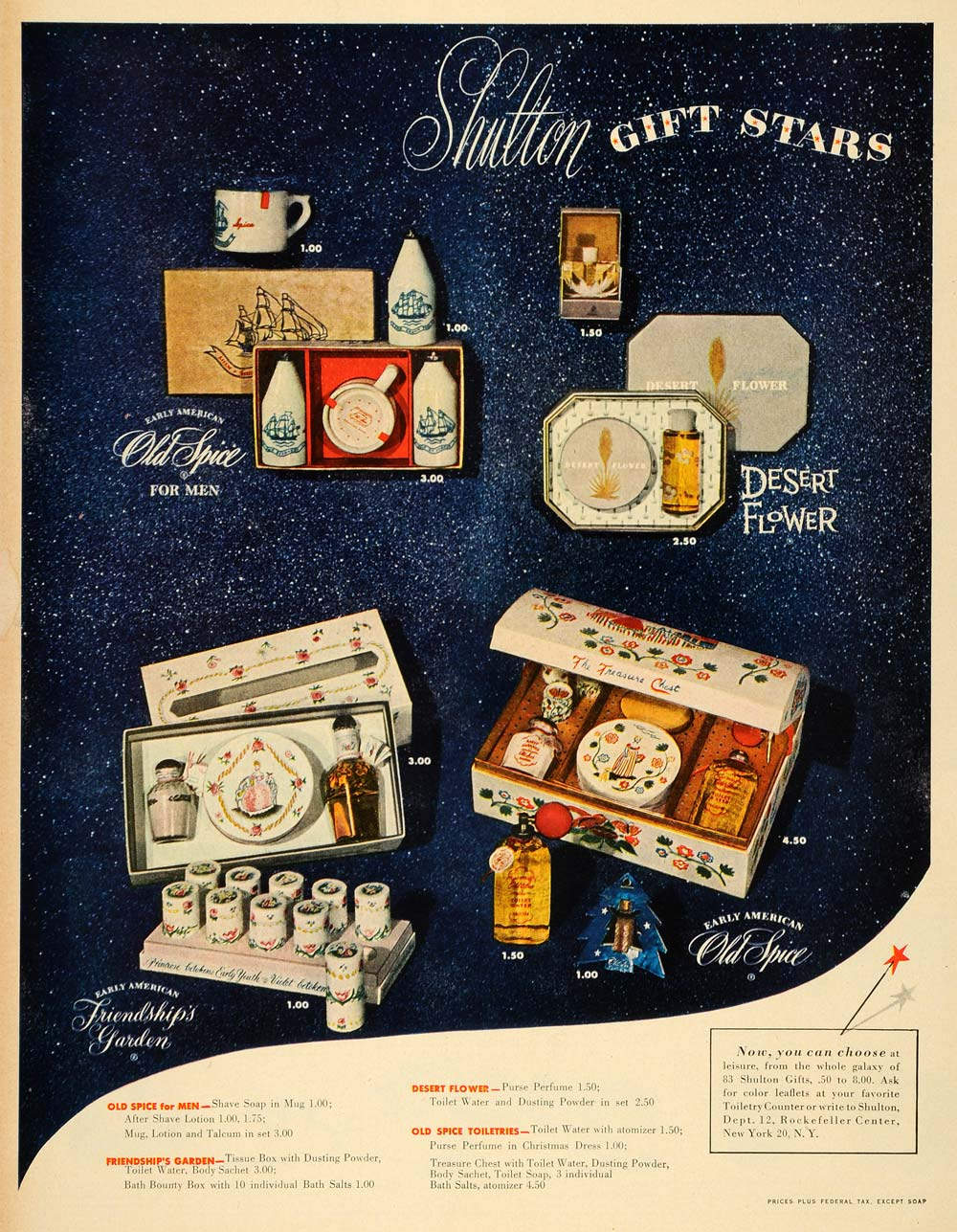 1949 Ad Shulton GIfts Old Spice Desert Flower Early American Friendships LF3
