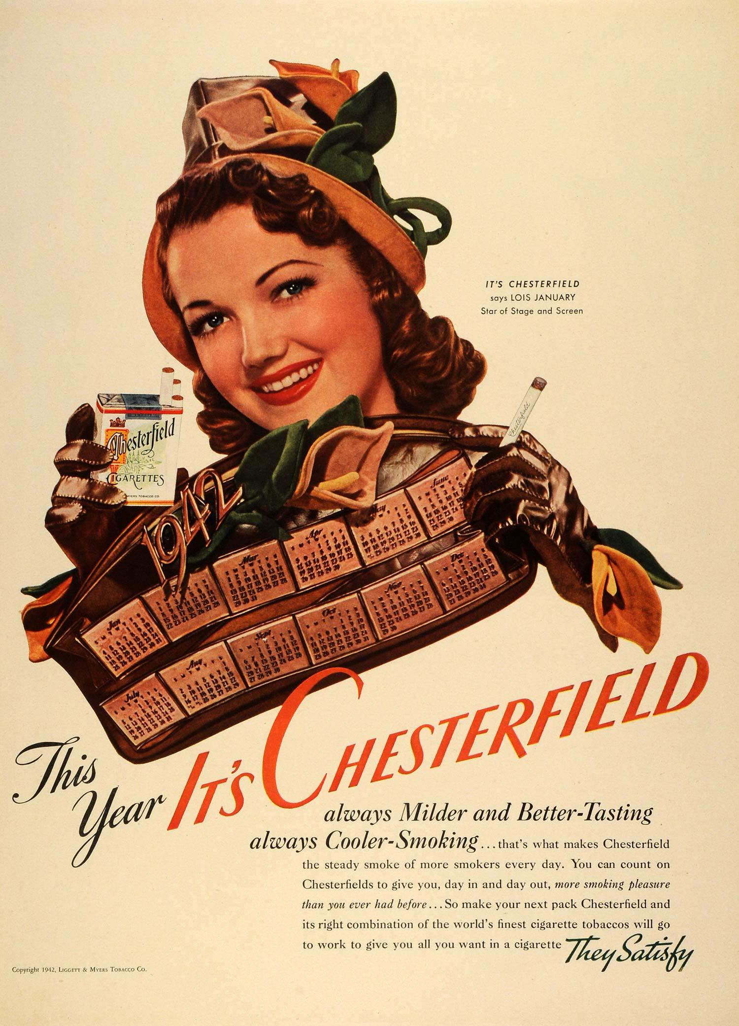 1942 Ad Chesterfield Cigarettes Tobacco Stage Actress Lois January Women LF4