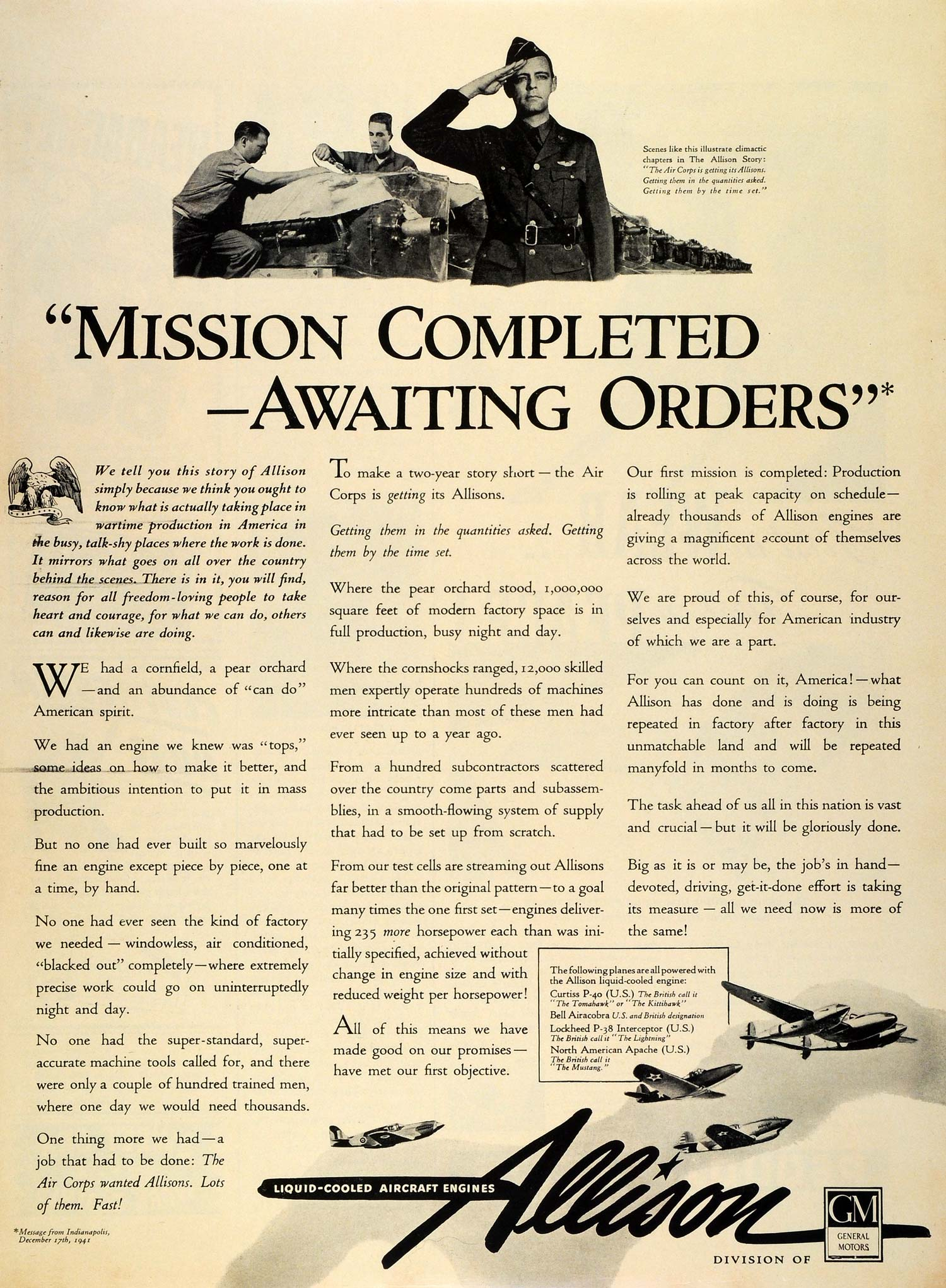 1942 Ad Allison Aircraft Engines WWII Aviation Air Force Curtiss Lockheed GM LF4