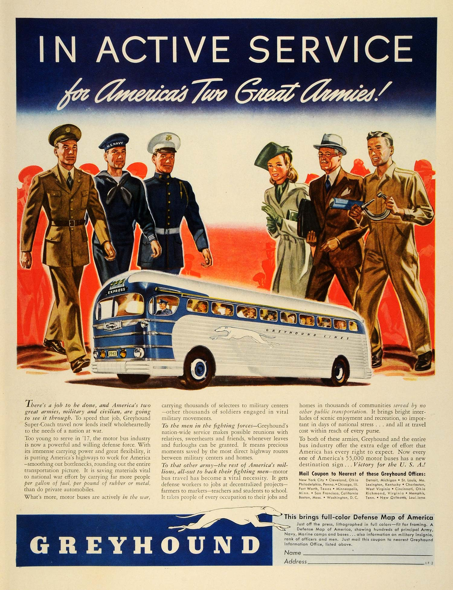1942 Ad Greyhound Bus Travel Military Active Duty WWII Army Navy Marines LF4