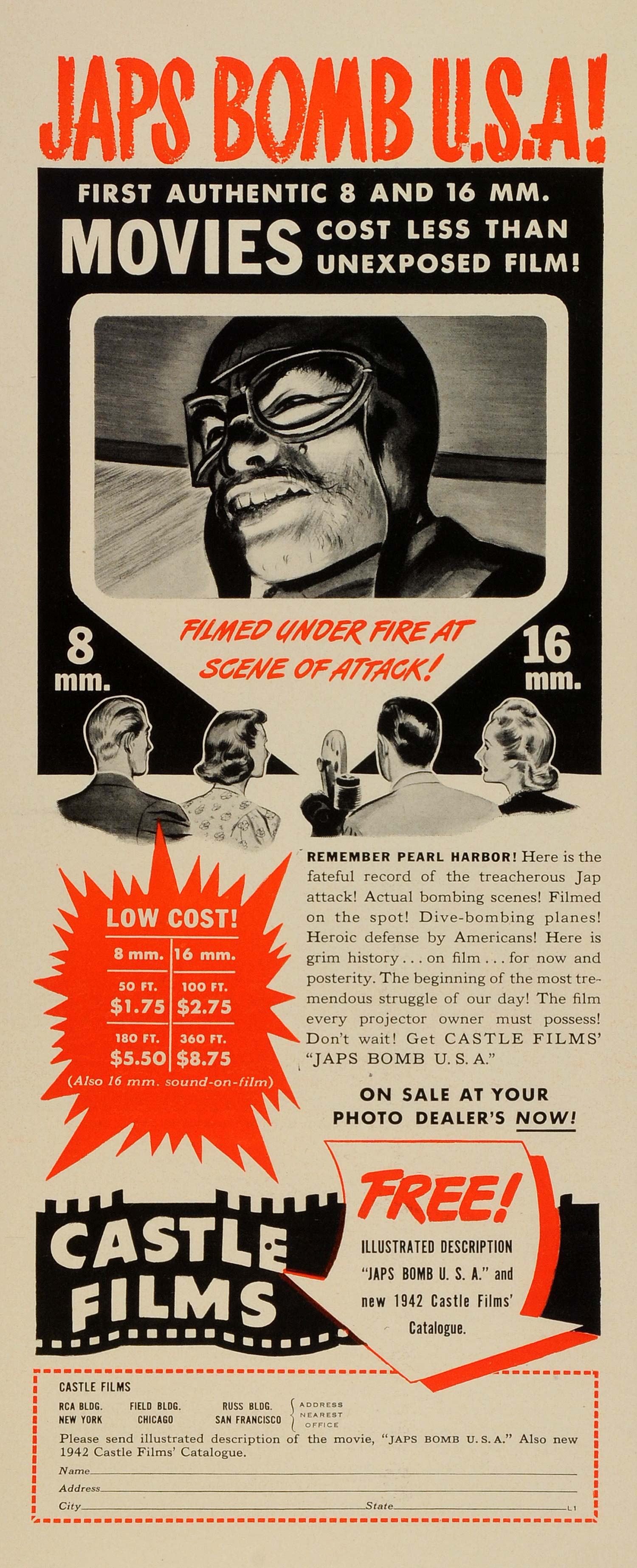 1942 Ad Castle Films Pearl Harbor Footage Movie Projector WWII Military LF4