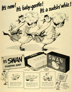 1942 Ad Swan Floating Soap Bar Lever Brothers Dish Detergent Baby Yourself LF4