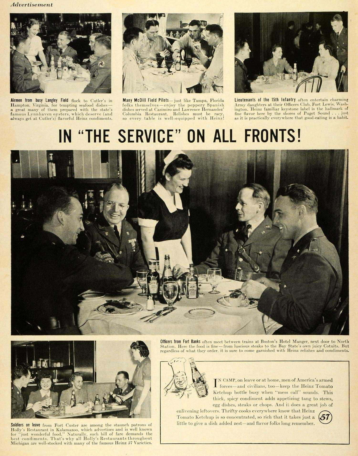 1942 Ad Heinz Ketchup World War II Military Dining Out Soldiers Langley LF4