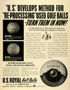 1942 Ad U S Royal Golf Balls Reprocessed Recycle Oil Cushioned Center Used LF4