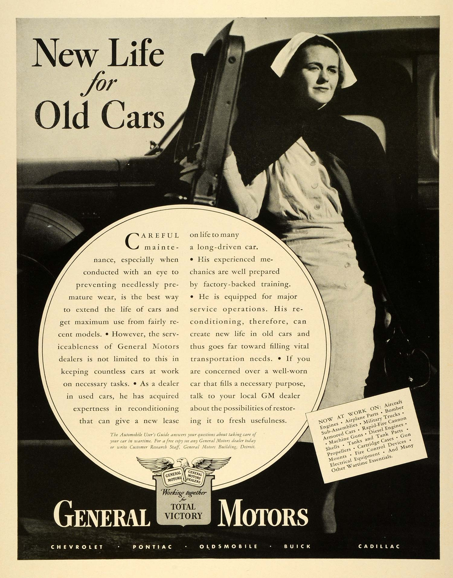 1942 Ad General Motors World War II Nurse Wartime Production Old Cars New LF4