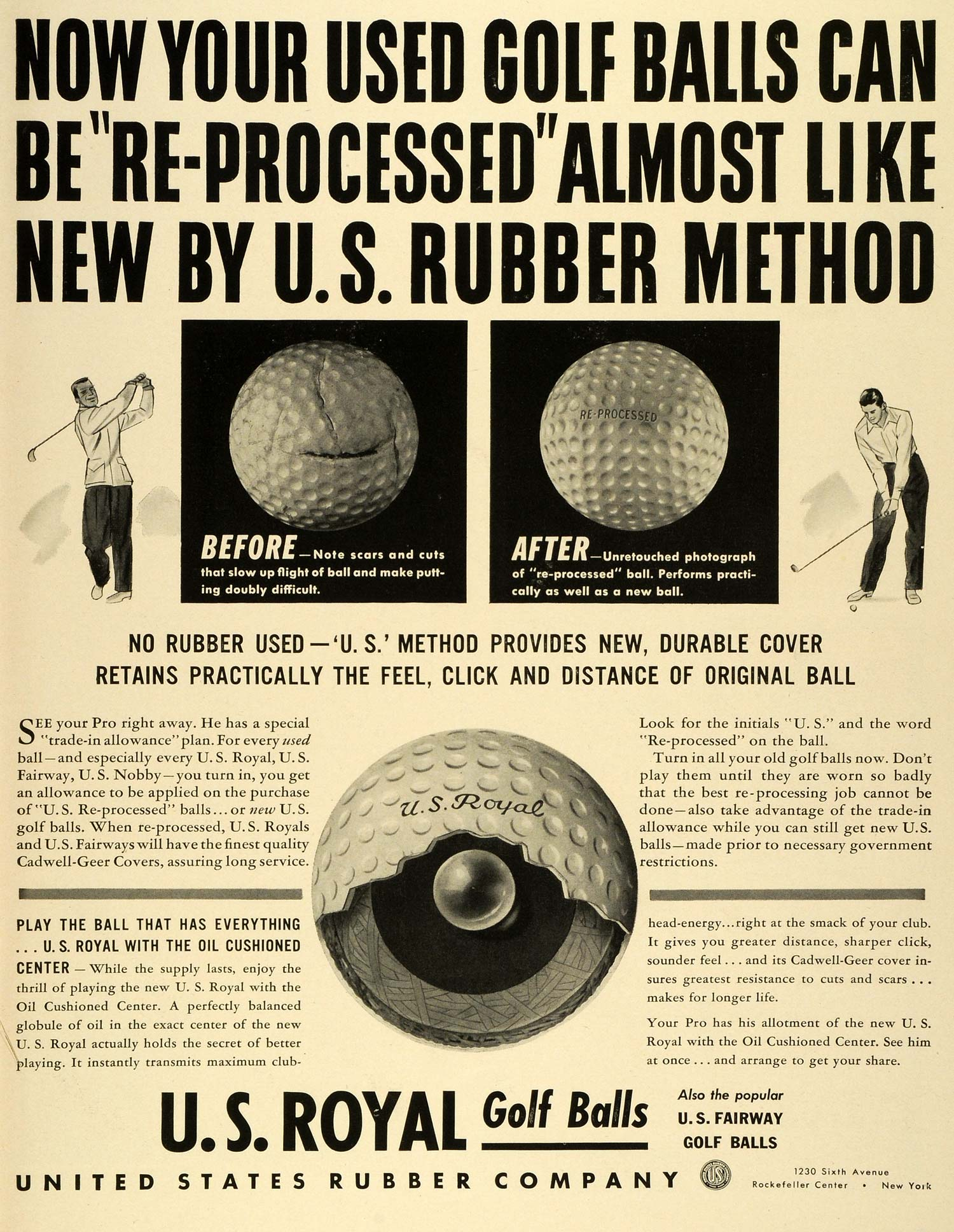 1942 Ad Before After Reprocess Golf Ball U S Royal Rubber Fairway Oil LF4