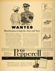 1943 Ad Pepperell Manufacturing Co Fabrics Sheets WW2 General Housekeepers LF4