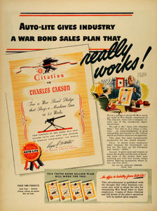 1943 Ad Toledo Ohio Electric Auto-Lite Co War Bond Sales Plan Certificate LF4