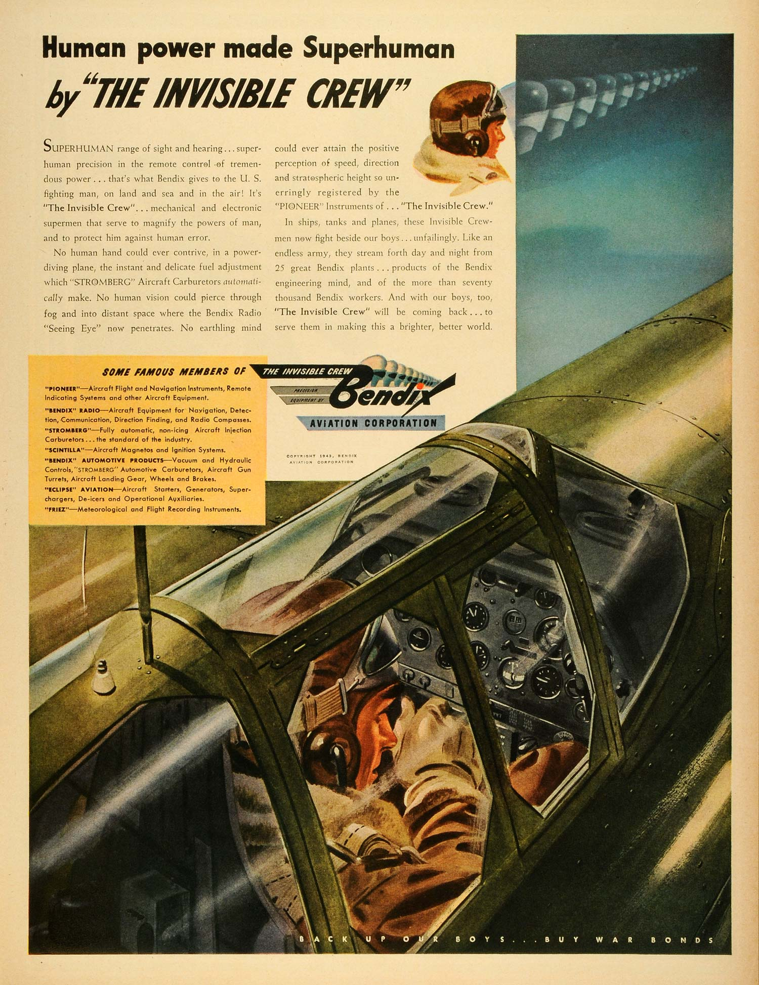 1943 Ad Bendix Aviation Corp Stromberg Aircraft Carburetors Precision LF4