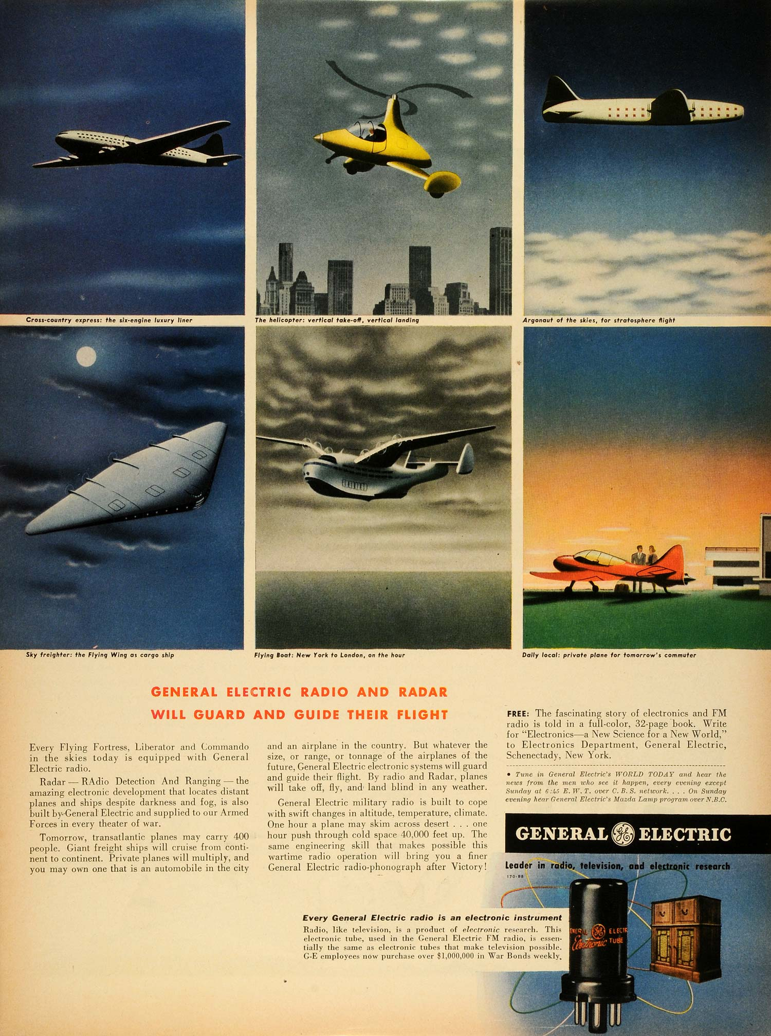 1943 Ad General Electric Co Radio Radar Military Aircraft WWII Fighter Plane LF4
