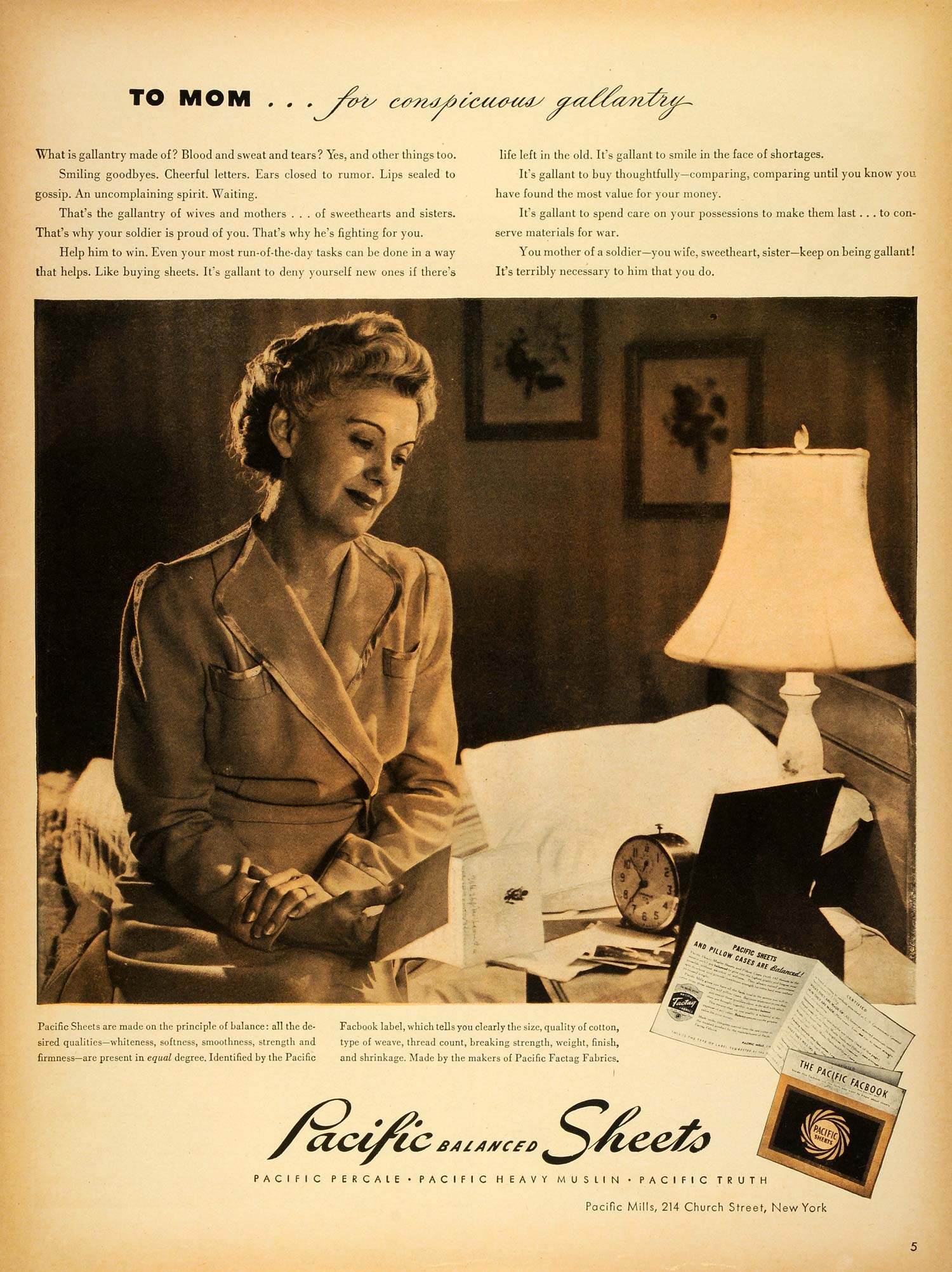 1943 Ad Pacific Mills Balanced Sheets Pillowcases Bedroom Mother Homefront LF4
