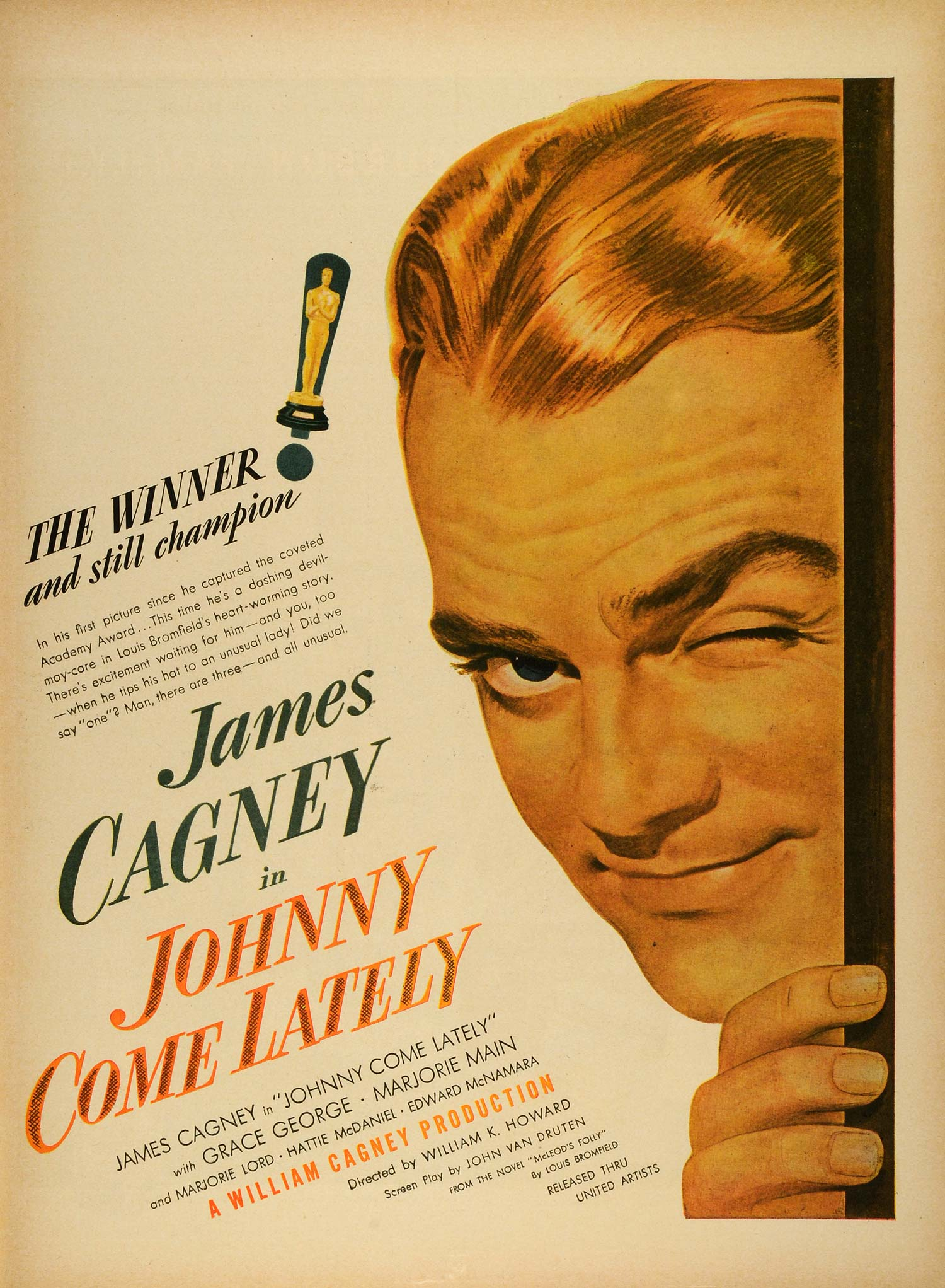 1943 Ad Film Johnny Come Lately Movie James Cagney William Cagney Production LF4