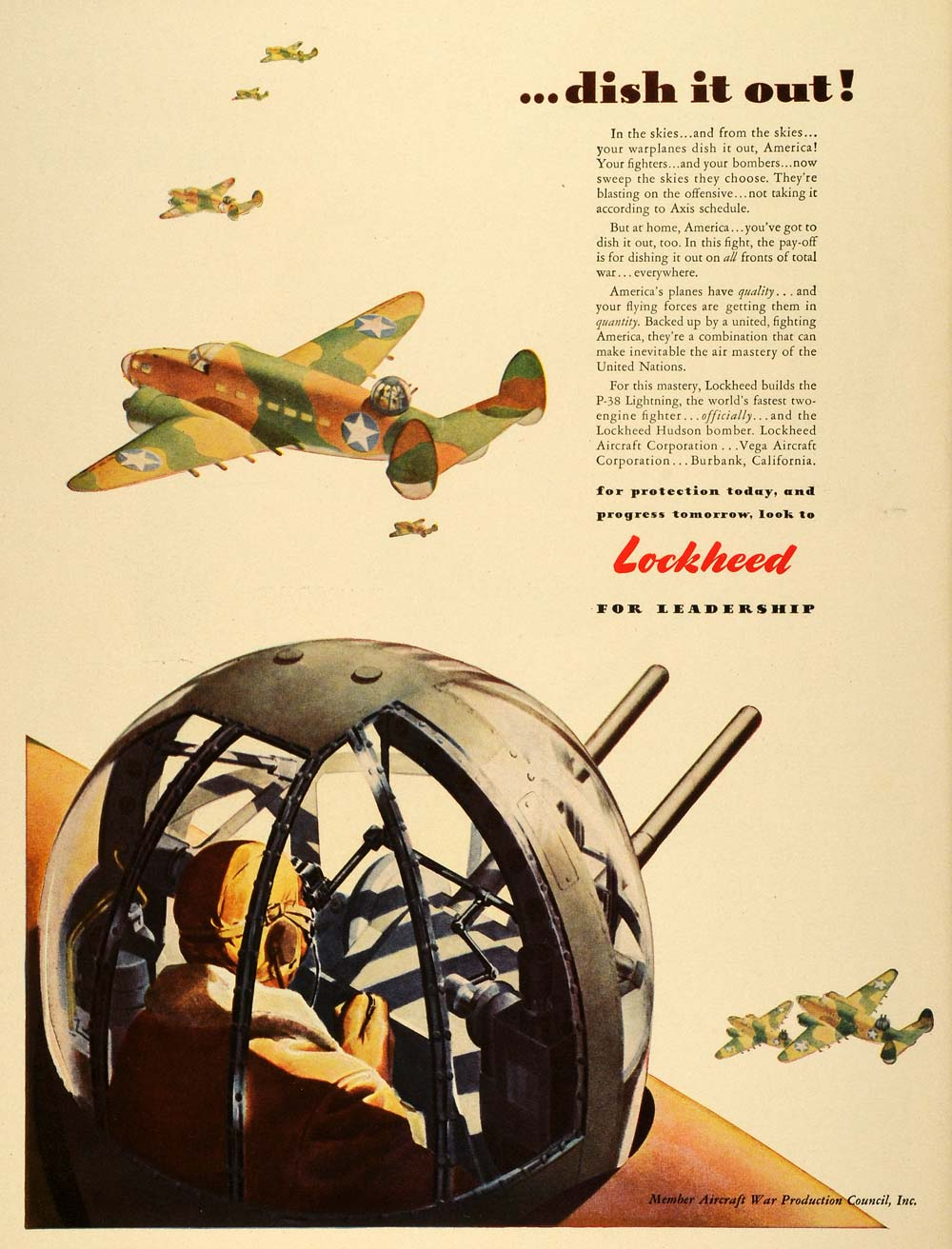 1942 Ad Lockheed Military Aircraft War Production WWII Military Air Force LF4