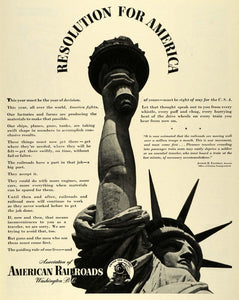 1943 Ad American Railroads Association Lady Liberty Statue WWII War LF4