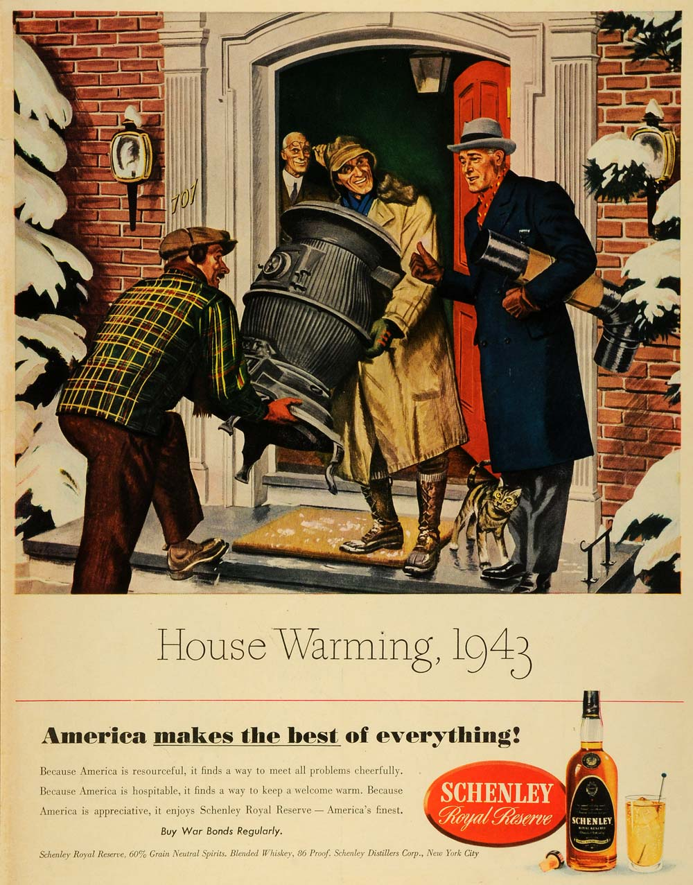 1943 Ad Schenley Royal Reserve Whiskey Liquor Alcohol WWII House Warming LF4