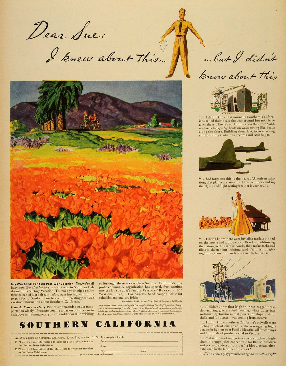 1943 Ad Southern California Victory Vacation Army Tourism Military WWII LF4 - Period Paper