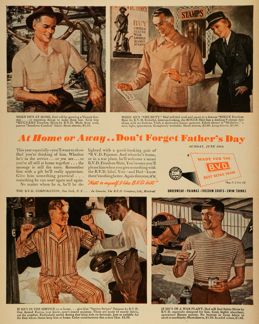 1943 Ad B  V  D  Mens Clothing Fathers Day WWII Army Soldiers Military War  LF4