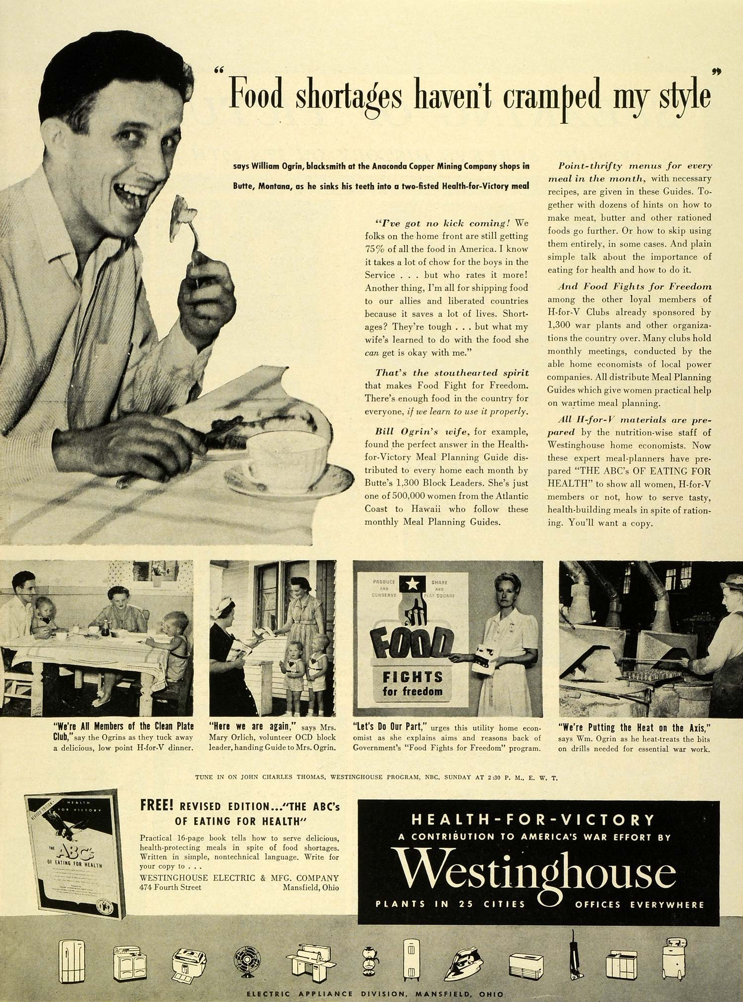 1943 Ad Westinghouse Electric Manufacturing Co William Ogrin Anaconda LF4