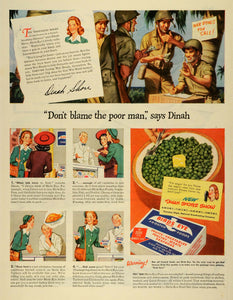 1944 Ad Birds Eye Snider Frosted Food Products Peas Soldiers WWII Dinah LF4