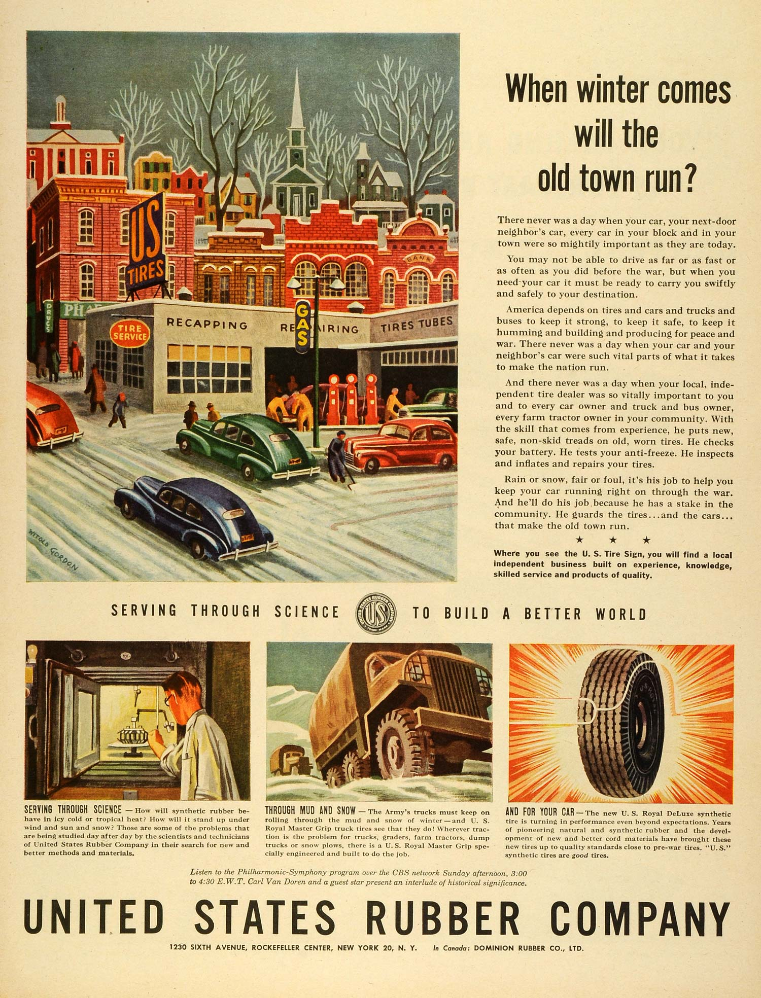 Vintage Advertising Art Tagged Tires Period Paper Ignition Circuit Diagram For The 1935 Chevrolet Master De Luxe Standard And Truck Models 1944 Ad United States Rubber Co Logo Automobile Parts Winter Town Lf4