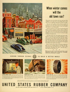 1944 Ad United States Rubber Co Logo Tires Automobile Parts Winter Town LF4