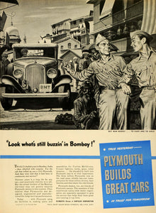 1944 Ad Plymouth Chrysler Corp Automobile Soldiers Bombay India WWII Wartime LF4
