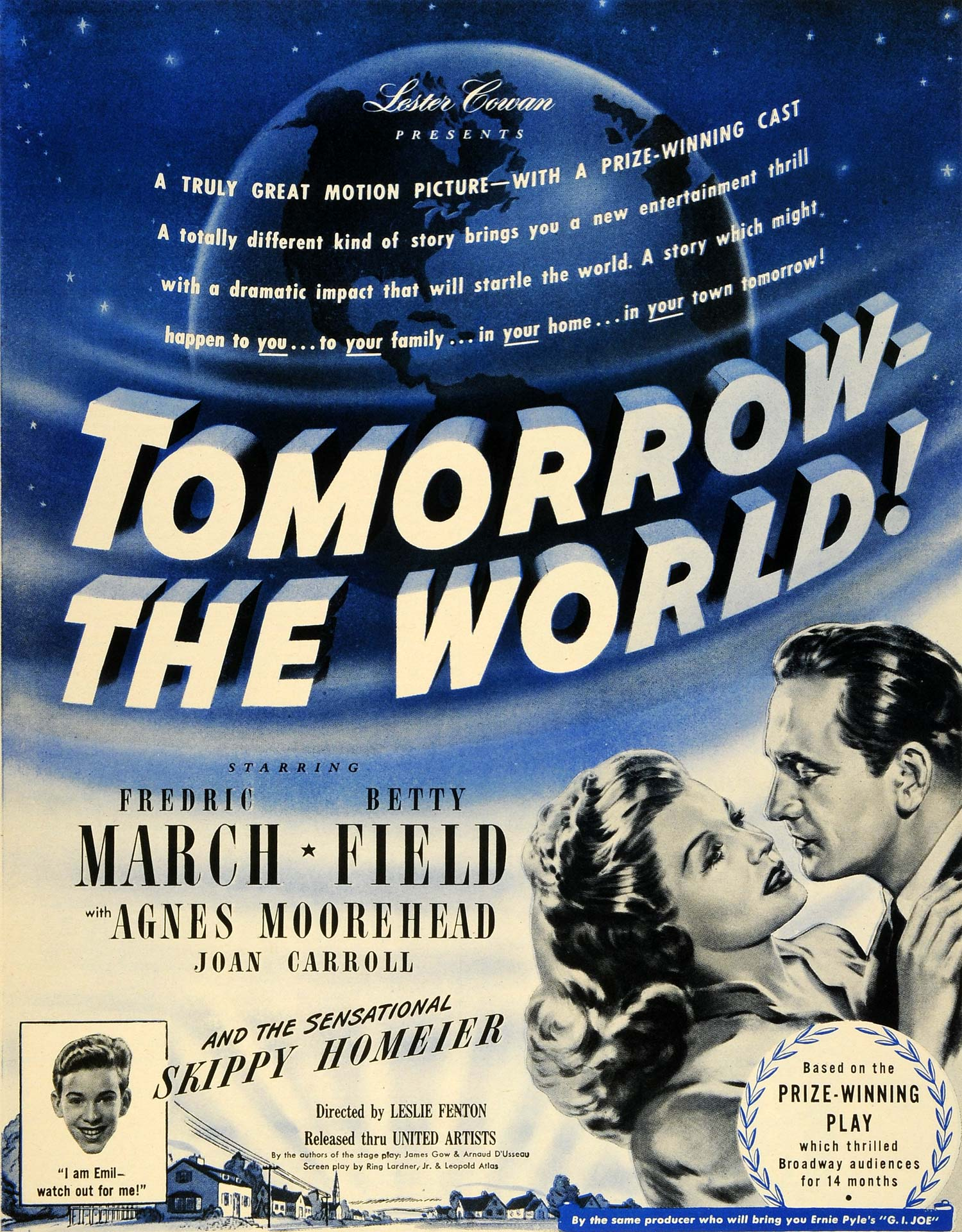 1945 Ad Film Tomorrow the World Lester Cowan Frederic March Betty Field LF4
