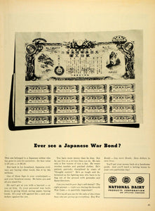 1945 Ad National Dairy Products Corp Japanese War Bond Yen WWII Wartime LF4