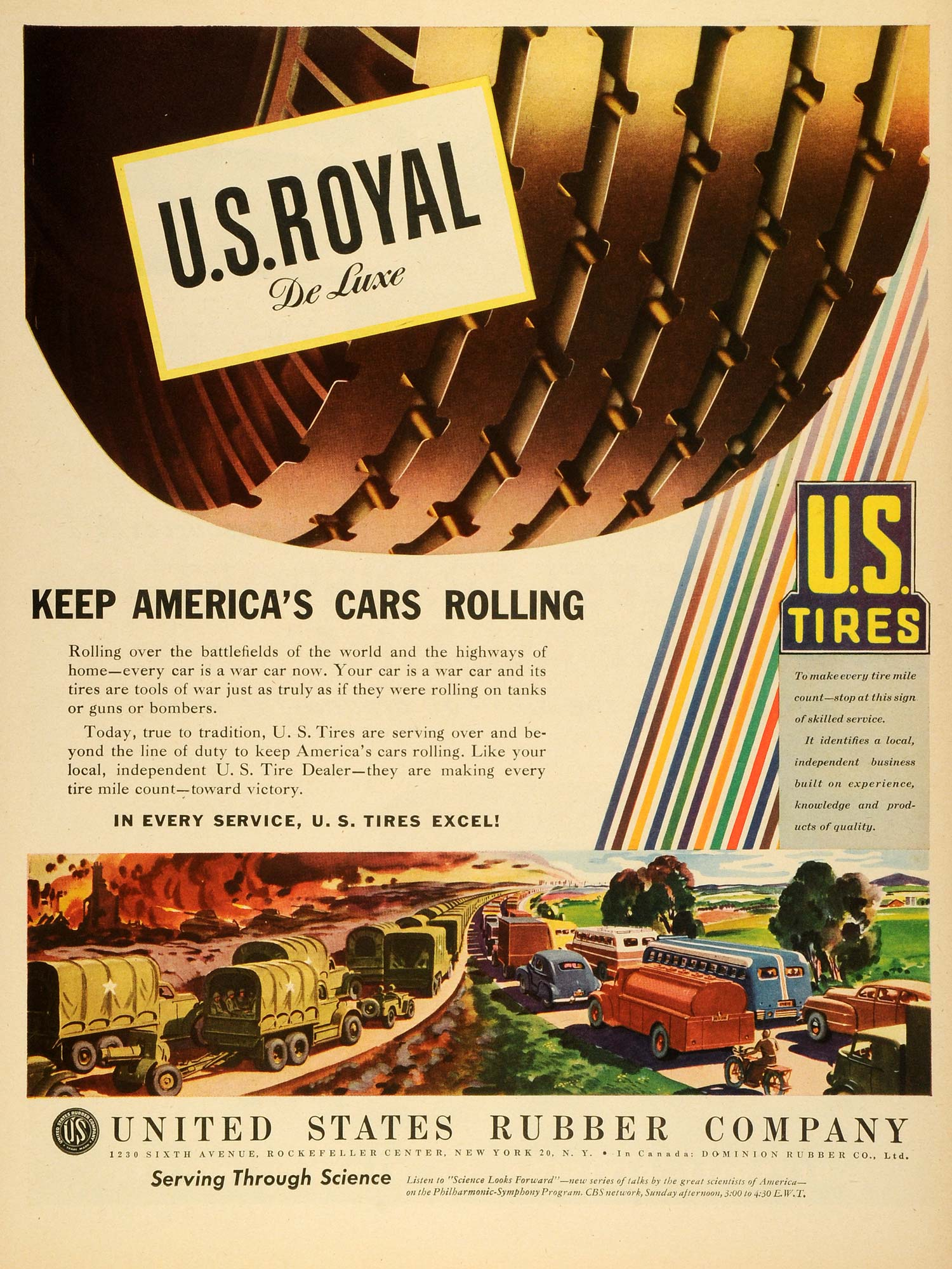 1945 Ad United States Rubber Co Logo US Royal De Luxe Tires Motor Vehicle LF4