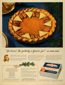 1945 Ad Birds Eye Snider Frosted Foods Pecan Pumpkin Pie Recipe Dinah Shore LF4