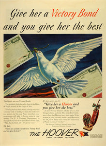 1945 Ad Hoover Co Vacuum Cleaner Model 27 Christmas Dove of Peace Wartime LF4