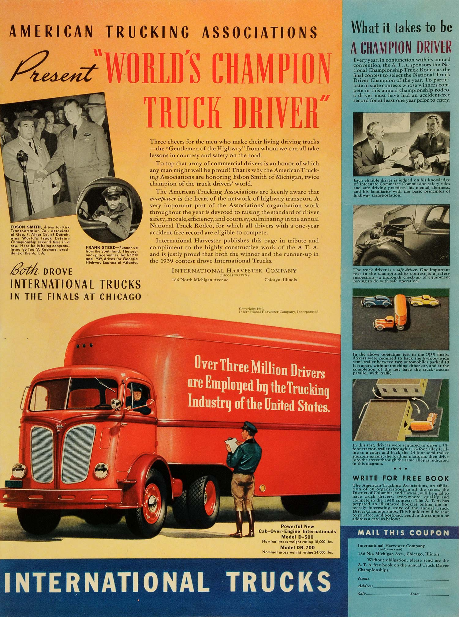 1940 Ad International Harvester Co Trucks Chicago Ill Edson Smith Frank LF4