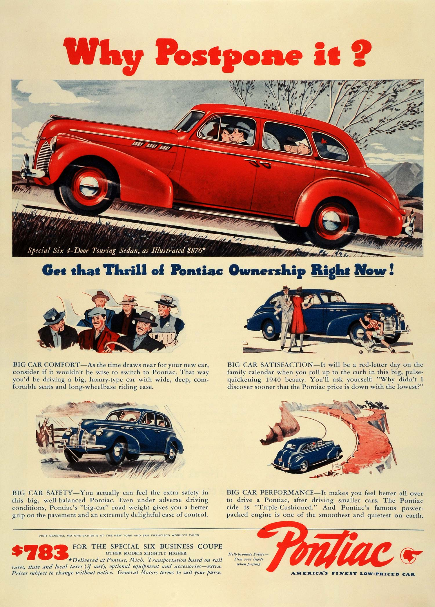 1940 Ad Pontiac General Motors Division Red Six 4 Door Touring Sedan LF4