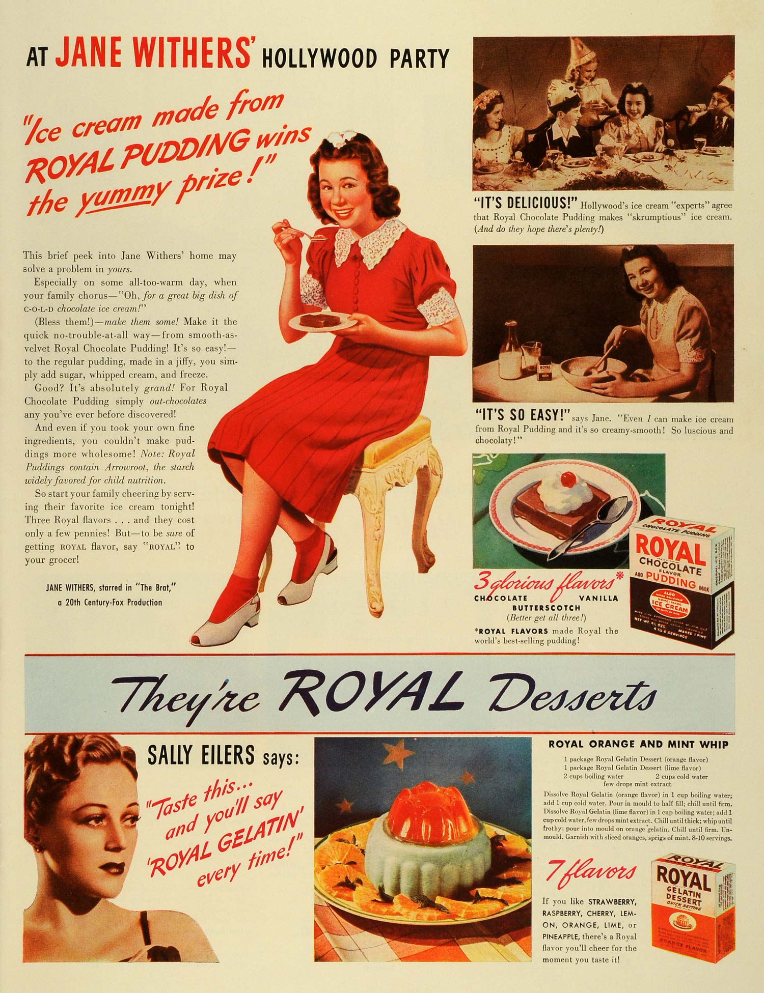 1940 Ad Royal Chocolate Pudding Orange Flavor Gelatin Dessert Jane Withers LF4