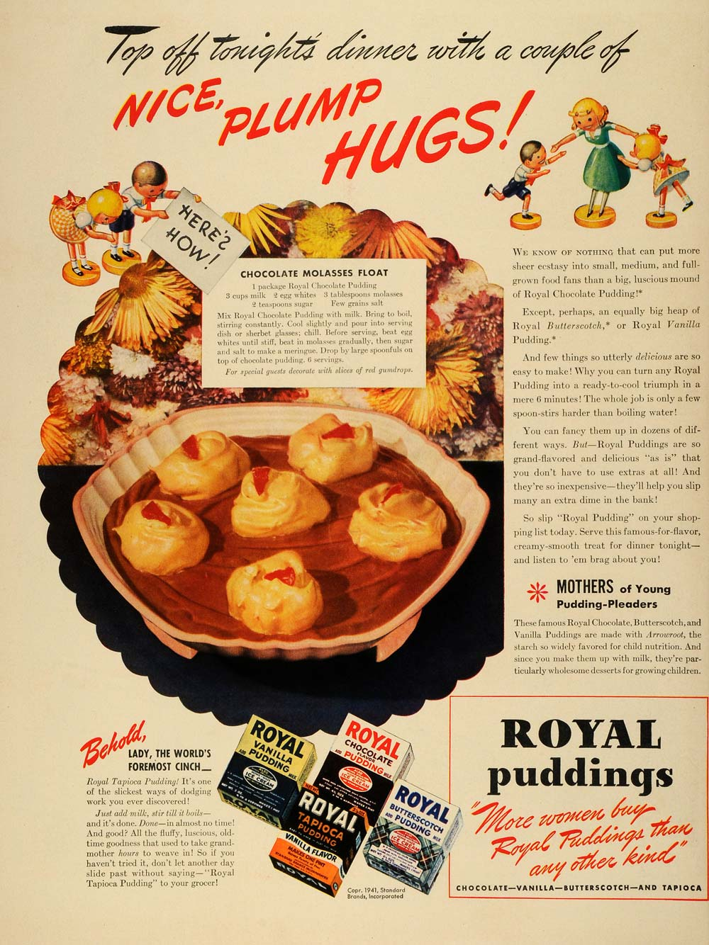 1941 Ad Standard Brands Royal Vanilla Pudding Chocolate Molasses Float LF4