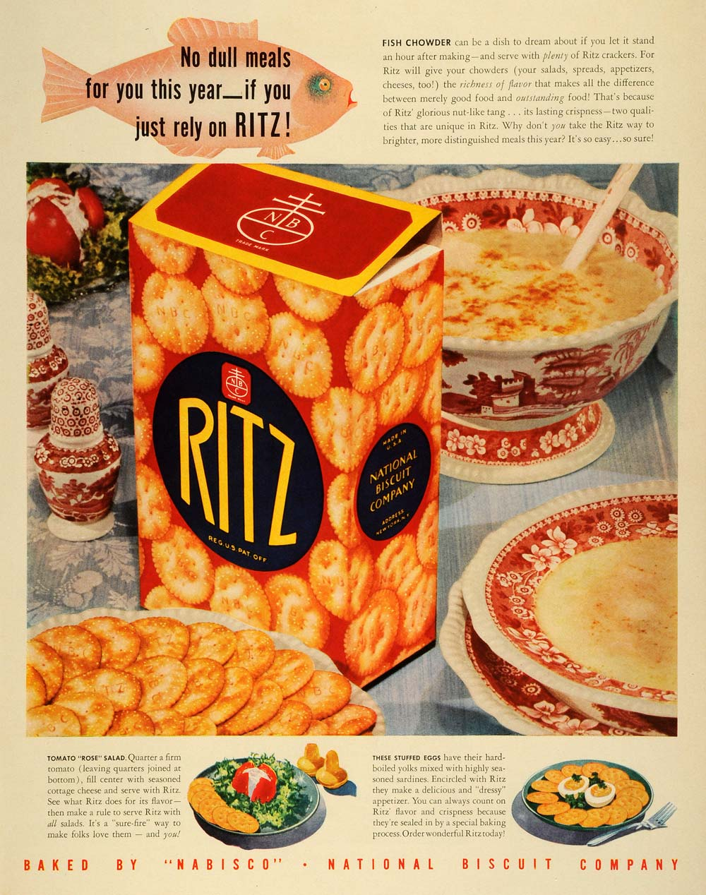 1941 Ad National Biscuit Co Ritz Nabisco Fish Chowder NBC China Set LF4