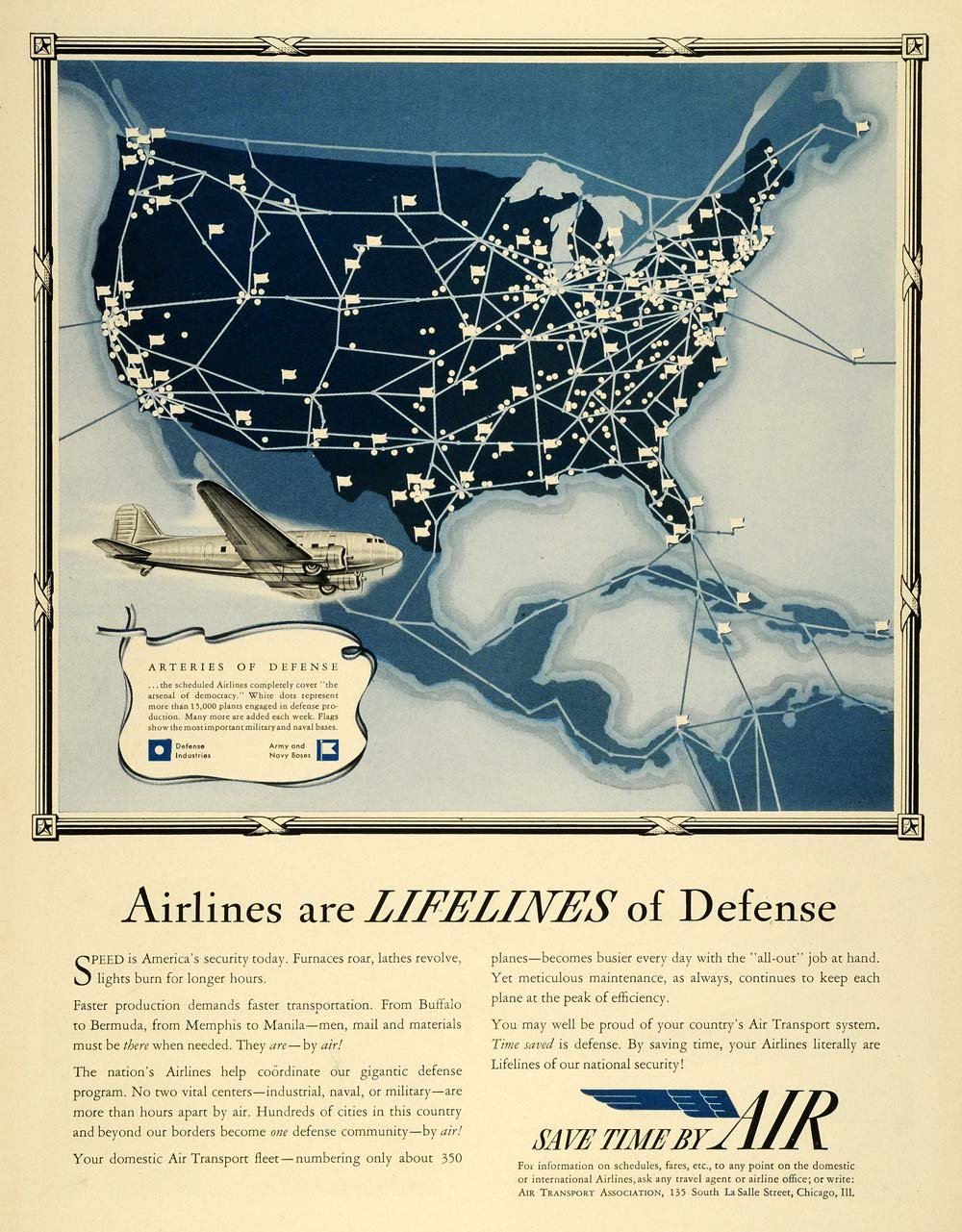 1941 Ad WWII Air Travel Transportation Aviation Airplanes National Defense LF5