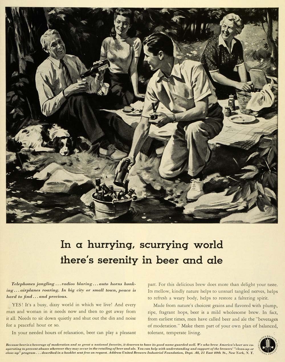 1941 Ad United Brewers Beer Ale Bottles Camping Family Picnic Alcohol LF5