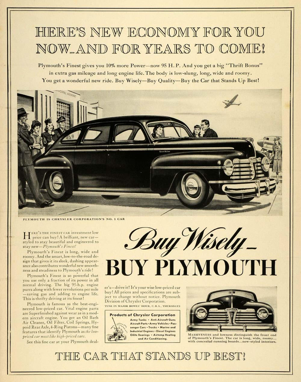 1941 Ad Chrysler Plymouth Vintage Automobiles WWII War Production Efforts LF5
