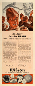 1942 Ad Wilson Sporting Goods World War II Athletic Gear Soldier Golf Tennis LF5