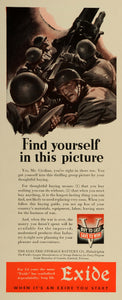 1942 Ad Electric Storage Battery Exide World War II Soldiers Artillery LF5
